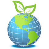 Green globe with leaves. Globe facing Americas with green leaves Royalty Free Stock Photo