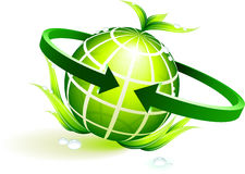 Green globe with leaves Stock Photos