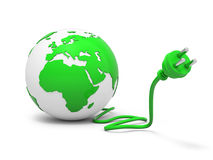 Green globe with plug Stock Photo