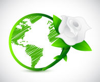 Green globe and a rose. illustration design. Over a white background Royalty Free Stock Image