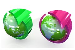 Green globe with round arrow Stock Photography