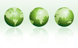 Green globe set with reflections Stock Photo