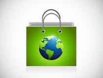 Green globe shopping bag illustration design Stock Images