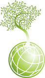 Green Globe with Tree. 3D green globe icon with green tree growing out of it Royalty Free Stock Images