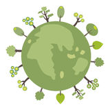 Green globe with trees for web or print. Green globe with the plant Think green stock illustration