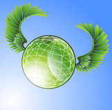 Green Globe with Wings Royalty Free Stock Photo