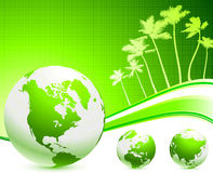Green globes background with palm trees Stock Photo