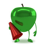 Green glossy apple character Stock Images
