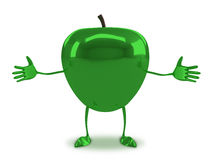 Green glossy apple character Royalty Free Stock Images