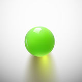 Green glossy ball. S on white background. Glass sphere with shiny blik. Vector illustration Royalty Free Illustration