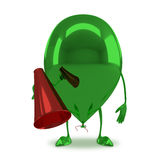 Green glossy balloon character Royalty Free Stock Photography