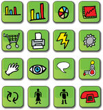 Green Glossy Business Icons. A set of 16 green glossy 3D business icons that include charts, shopping cart, printer, speech, touch, sight, accessibility, male stock illustration
