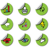 Green Glossy Business Icons Stock Photo