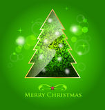 Green glossy christmas tree illustration Royalty Free Stock Image