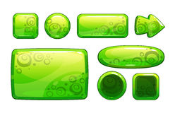 Green glossy game assets set. On white, different shape buttons and panels for game or web design, vector gui elements vector illustration