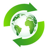 Green glossy globe recycle Stock Images