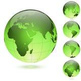 Green glossy globes set royalty free illustration