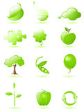 Green glossy icon set Stock Photo