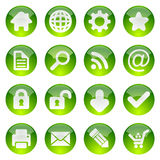 Green glossy icon set Stock Images