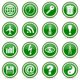 Green glossy icon set Royalty Free Stock Image