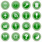 Green glossy icon set Royalty Free Stock Image