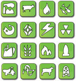 Green Glossy Industry Icons stock illustration