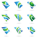 Green glossy logos. And graphic design elements vector illustration