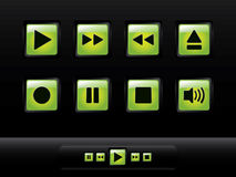 Green glossy music buttons Stock Image
