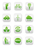 Green glossy square buttons set Royalty Free Stock Photography