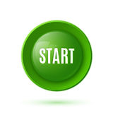 Green glossy start button icon Royalty Free Stock Image