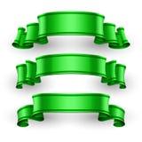 Green Glossy vector ribbons set Royalty Free Stock Photo