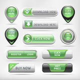 Green Glossy Web Elements Button Set. Stock Images