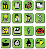 Green Glossy Web Icons. A set of 16 green glossy 3D web icons that include security lock, document logo, paint, phone, computer, handheld pda, joy stick, sound Stock Photography