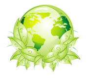 Green Glossy World Icon Stock Photography