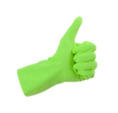 Green glove for cleaning show thumbs up Stock Photo