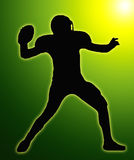 Green Glow SilhouetteFootball Quarterback Stock Photos