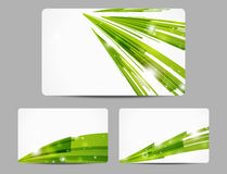 Green glowing banners. Set of green glowing business cards design Royalty Free Stock Photography