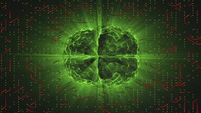Green glowing brain wired on red neural surface or electronic conductors. Artificial intelligence AI and High Tech Concept Stock Photo