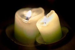 Green Glowing Candle Double Image Royalty Free Stock Photo