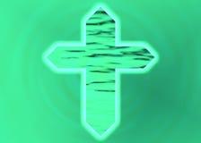 Green glowing Christian cross Royalty Free Stock Photo