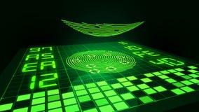 Digital finger touches fingerprint sensor and starts biometrics data analysis stock illustration