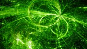 Green glowing electromagnetic plasma fields in space. Computer generated abstract background, 3D rendering Royalty Free Stock Images