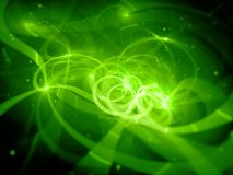 Green glowing fiber optic with particles in space Stock Photo