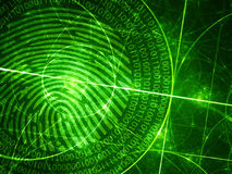 Green glowing fibonacci circles with digital fingerprint. Computer generated abstract background, 3D rendering royalty free illustration