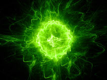 Green glowing fireball lightning. Computer generated abstract background, 3D rendering Royalty Free Stock Photo