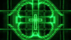 Green glowing holy christian cross 3d rendering motion background wallpaper club visual loop stock video