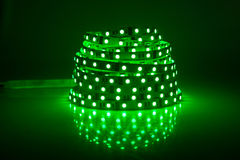 Green glowing LED garland. Strip Royalty Free Stock Image