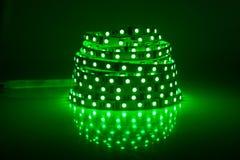 Green glowing LED garland Royalty Free Stock Image