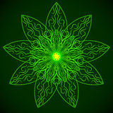 Green glowing mandala in the form of a lotus. Element for your designs, invitation card, yoga, meditation, astrology and other bright projects Stock Photography