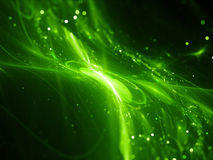 Green glowing new technology flow in space Stock Photography